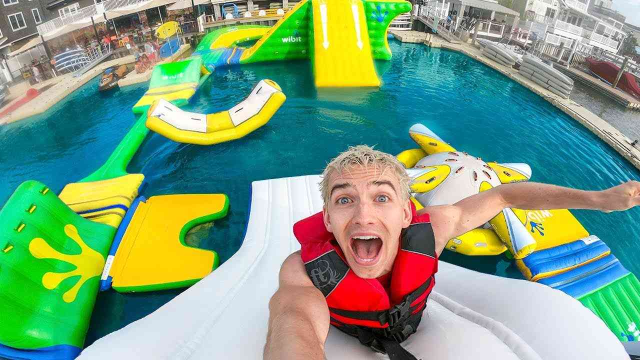 Beach Island Inflatable Water Park, Giant Hippo Cliffhanger Water Slide