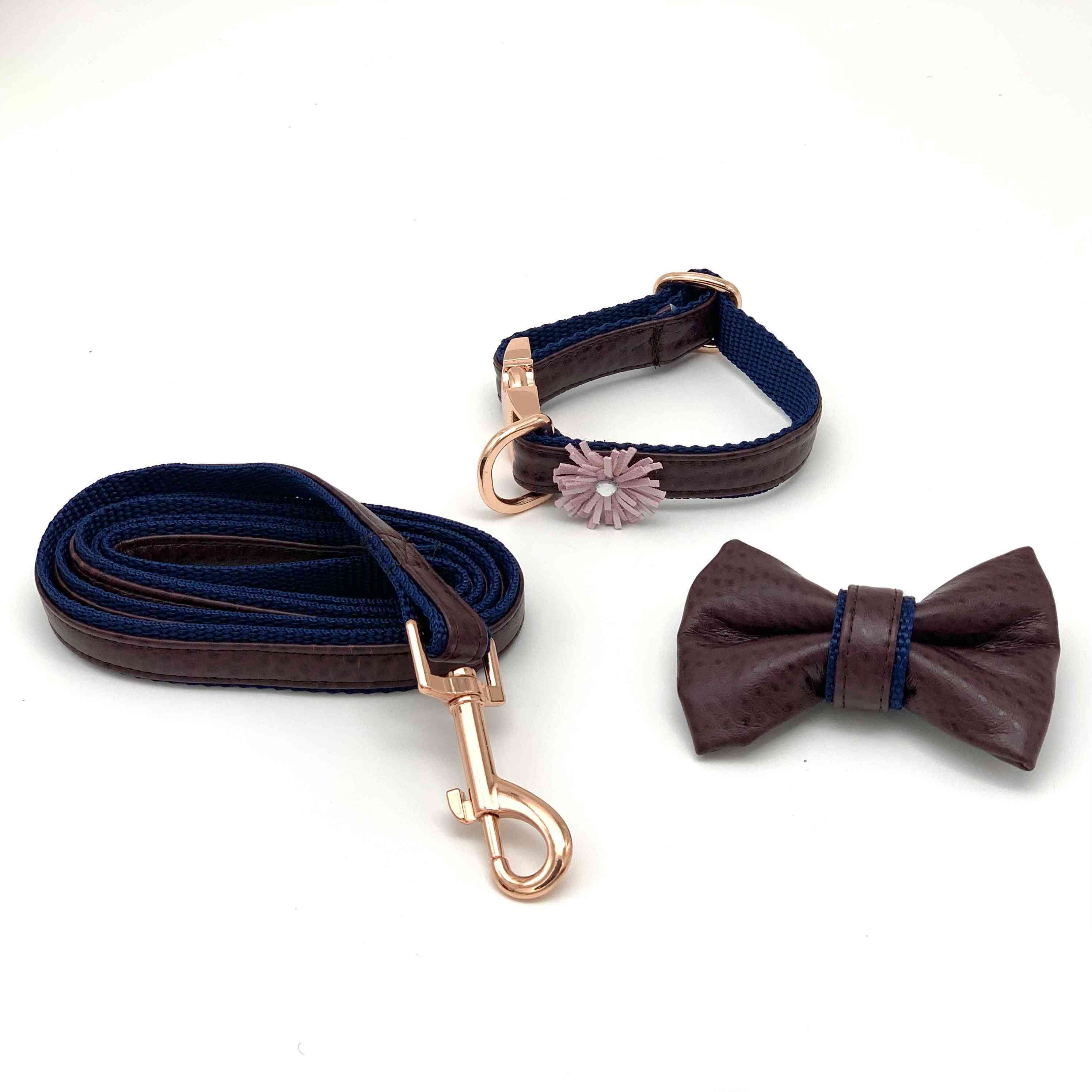 Burgundy & Navy Leather Leash