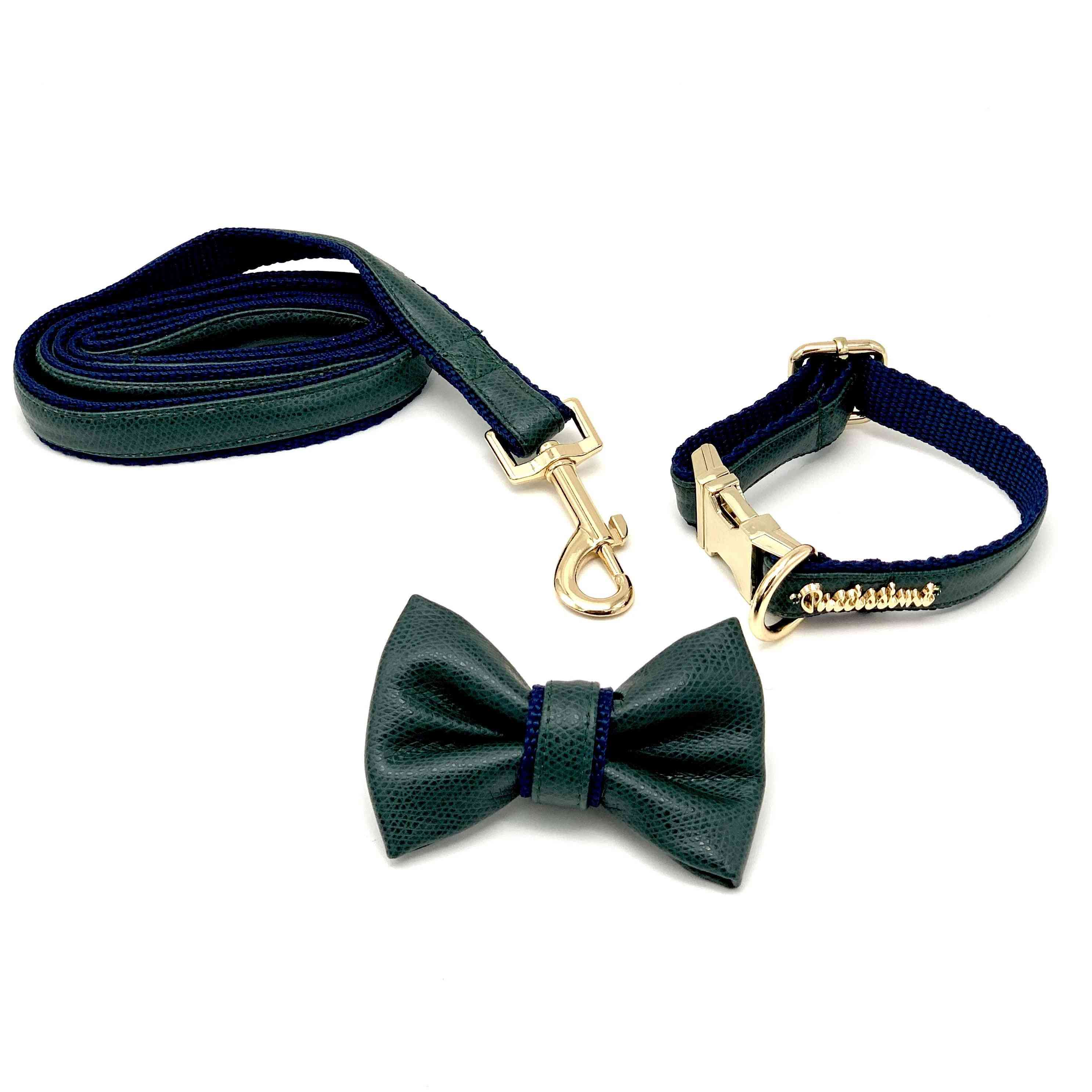 Green & Navy Leather Leash