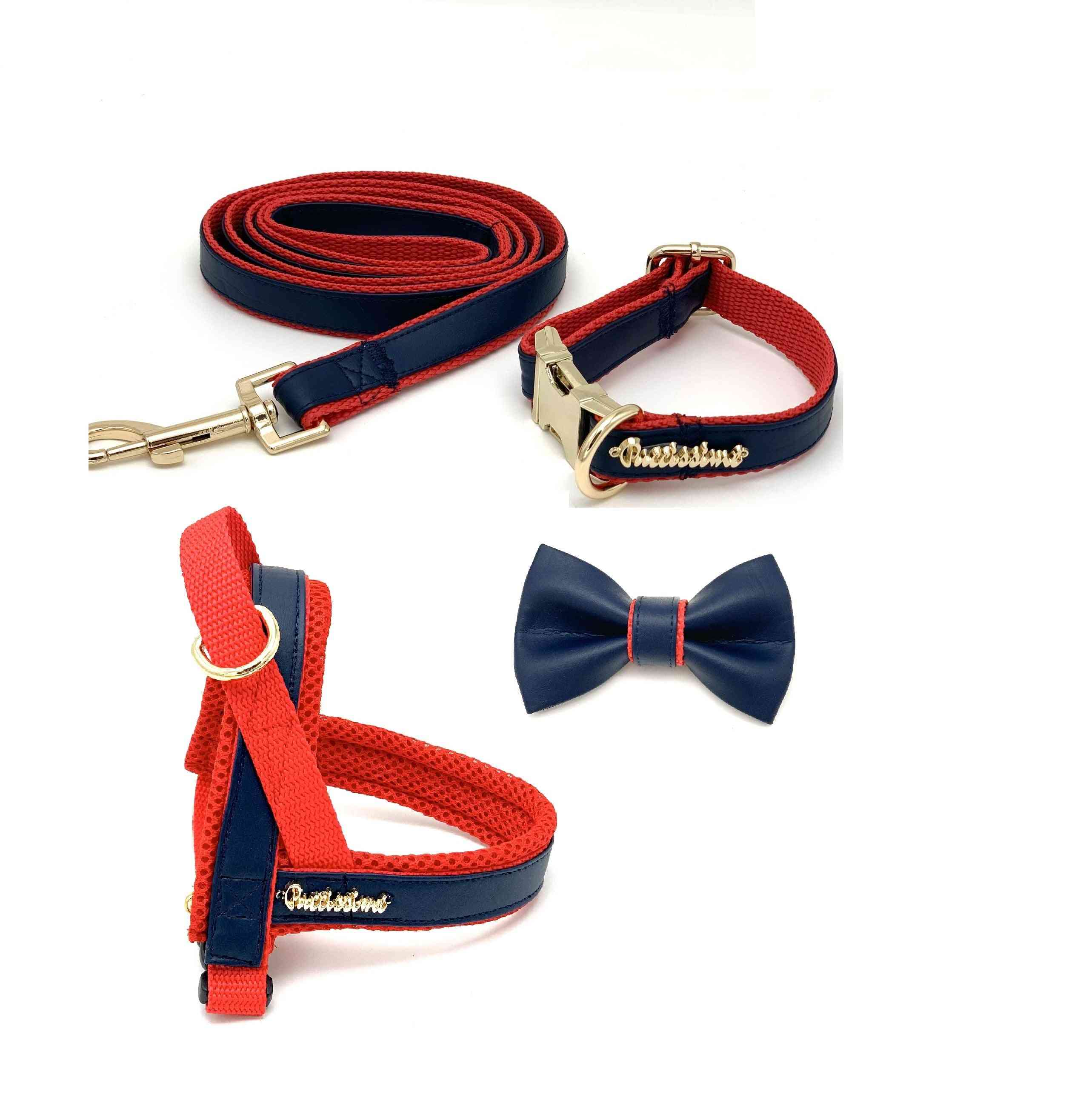 Navy & Red Leather Leash
