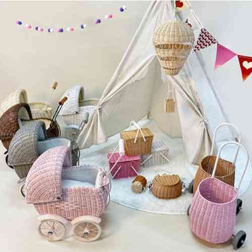 Nordic Kid Trolley, Baby Toddler Toy, Rattan Make-up Room Decorated Photo Prop, Cart Walker