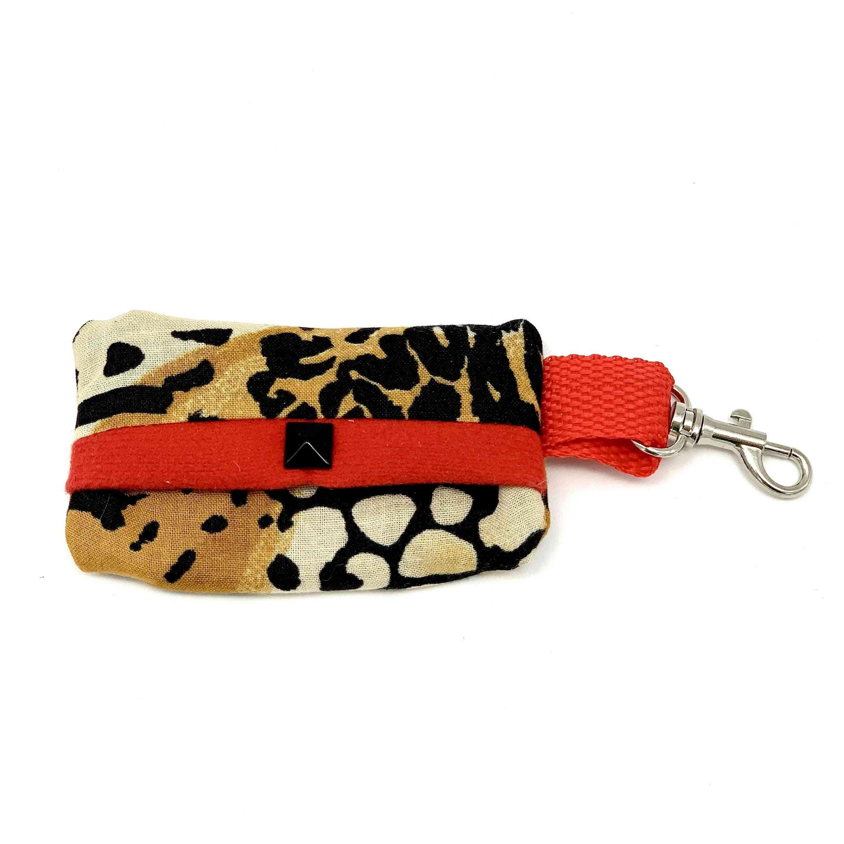 Leopard Dog Waste Bag Holder With Red Suede Lining