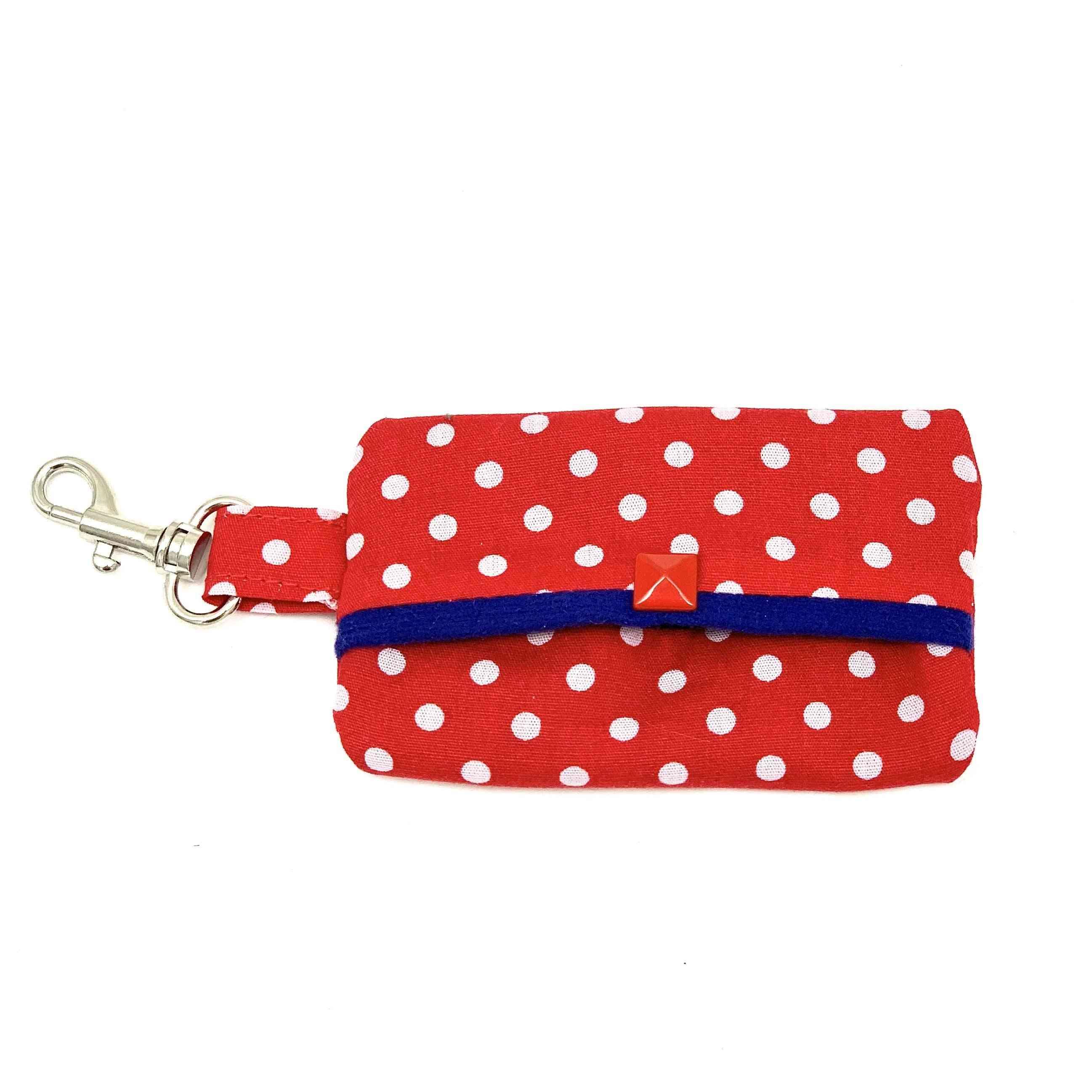 Red Polka Dog Waste Bag Holder With Blue Suede Lining
