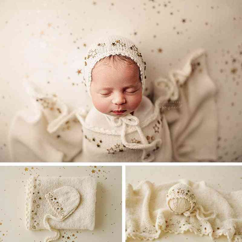 Newborn Photography Props, Girl Heavy Industry Starlight Wool Knitted Hat Wrap Set, Star Blanket, Baby Photo Shoot Background Mat