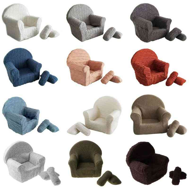 Newborn Baby Posing Mini Sofa Arm Chair, Pillow Infant Photography Prop