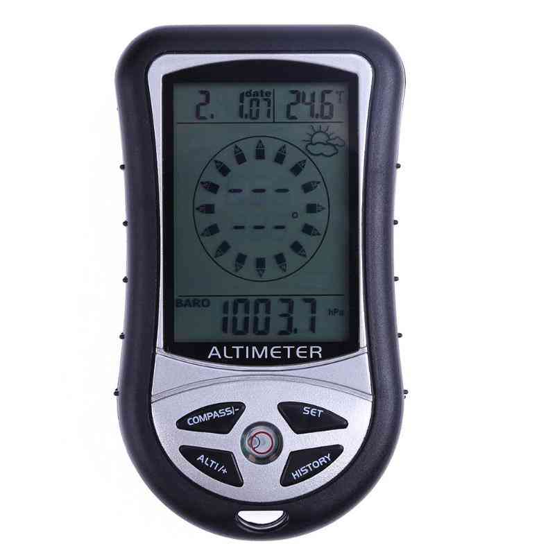 Electronic Handheld Compass, Altimeter, Barometer, Thermometer Weather Forecast, Time Calendar Clock With Backlight
