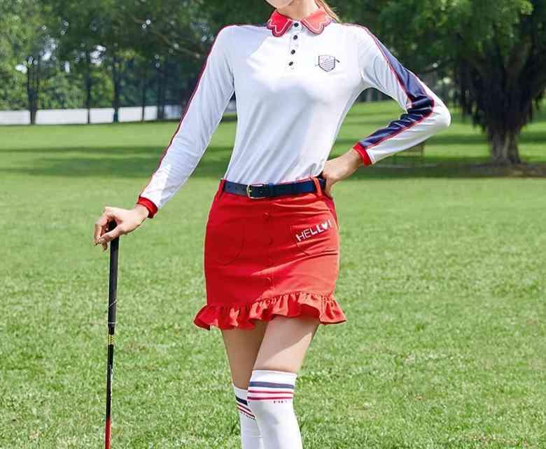 Golf Women Wear Suit Long Sleeved T-shirt, Half-length Skirt Pants