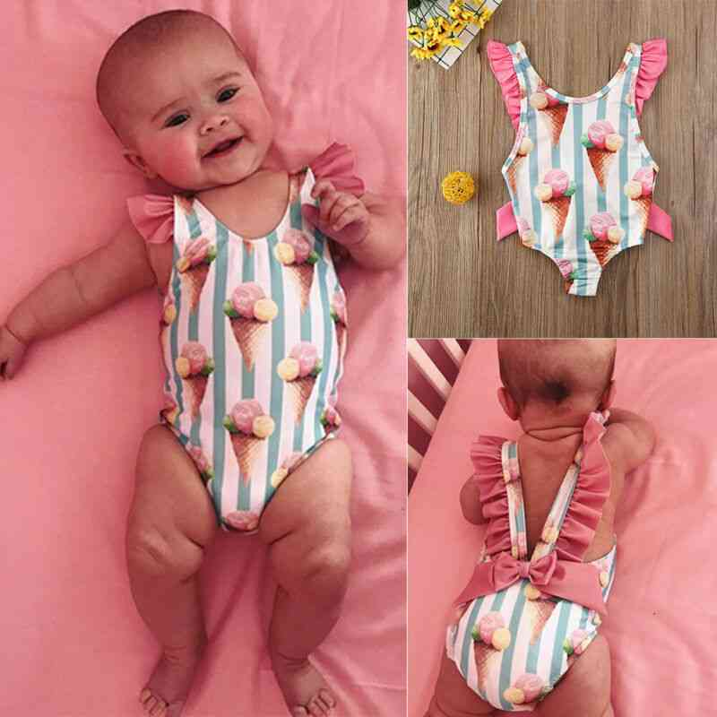 Baby Cute Ice Cream Striped Print Backless-swimsuit Bathing Swimwear