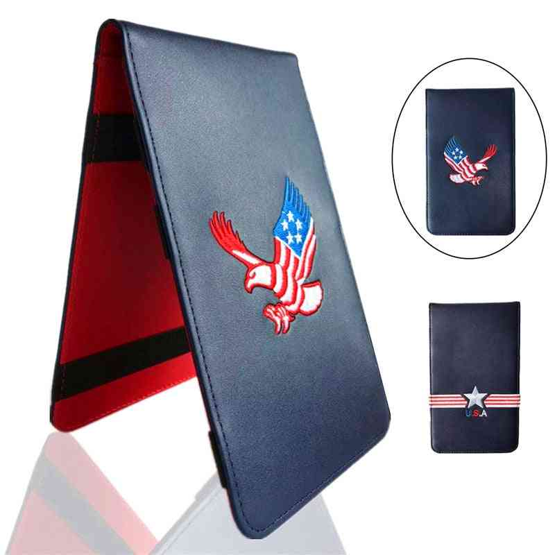 Deluxe Pu Leather Cover Golf Scorecard Holder Scoring Book Wallet