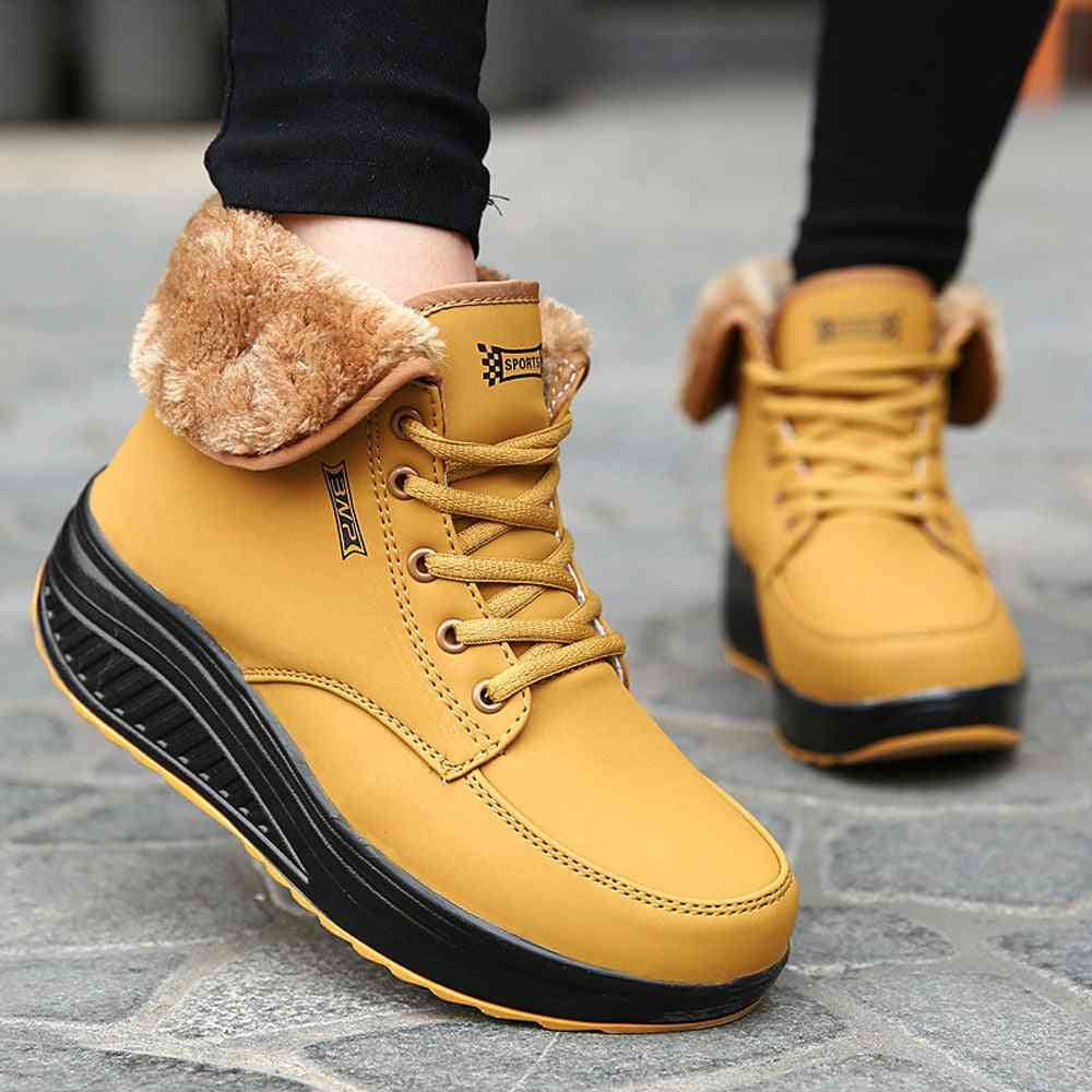 Women Winter Plus Velvet Ankle Boots Wedges Trainers Leather Sneakers