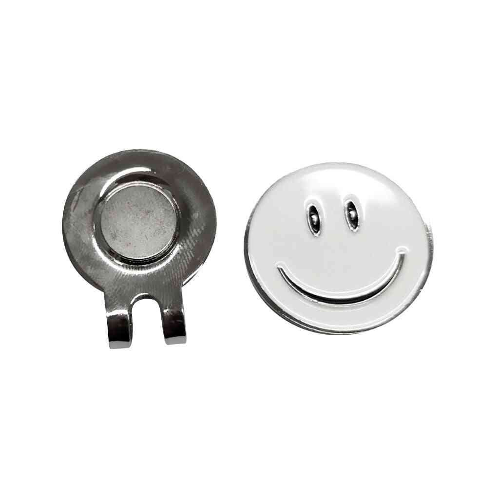 Cute Smile Face Pattern Golf Ball Marker With Magnetic Golf Hat Clip, White