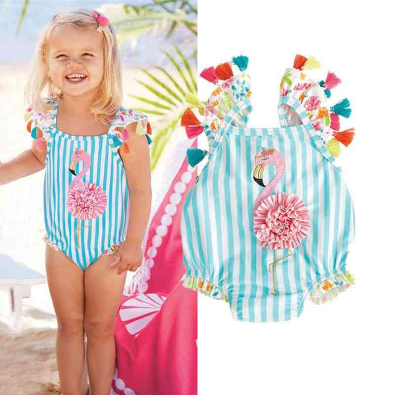 Baby Casual Tassels Flamingo Stripe Suits Bikini Set, Swimsuit Beachwear