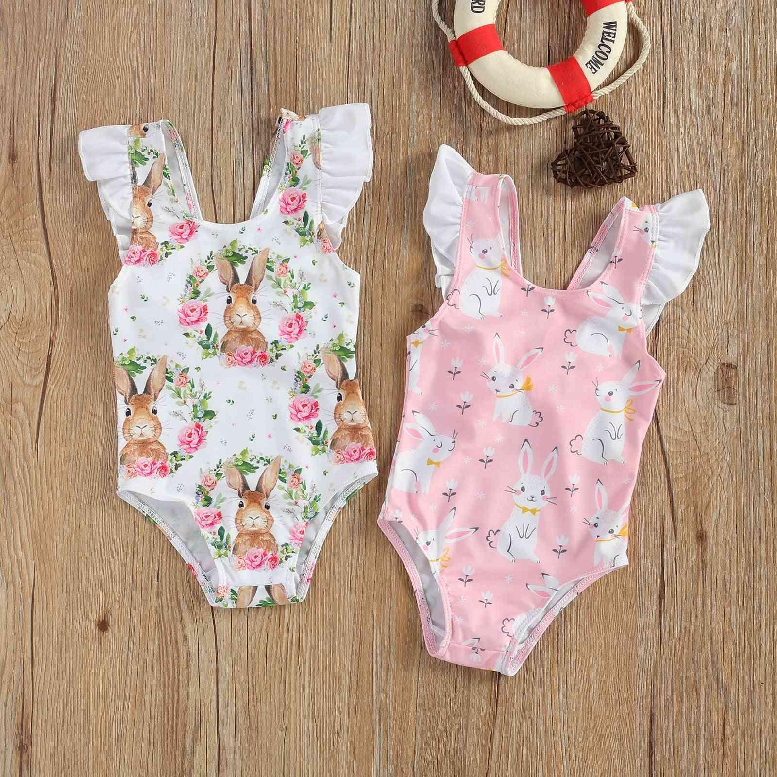 Breathable Little Girl One-piece Swimsuit, Cute Rabbit Flower Flying Sleeve Swimsuit