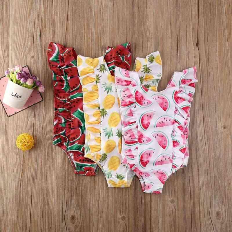 Baby Kid Girl Fashion Fruit Print Sleeveless Ruffle One-piece Swimsuits