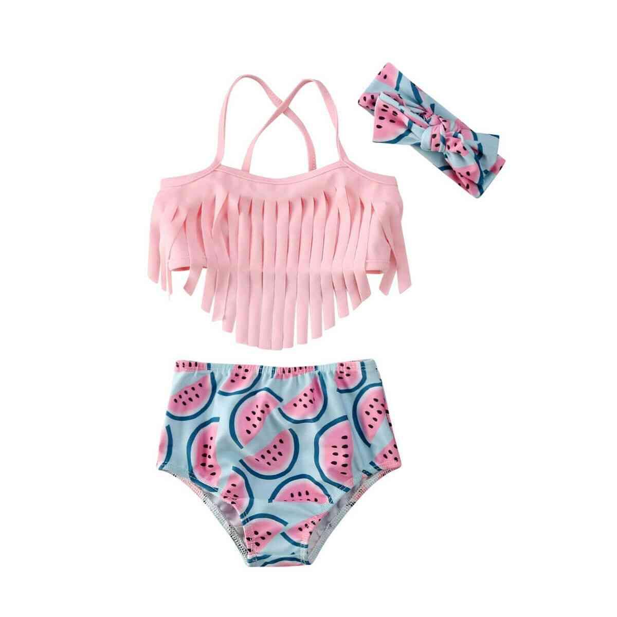 Baby Girl Swimwear Tassel Watermelon Swimsuit, Beach Bathing Girl Swimsuits