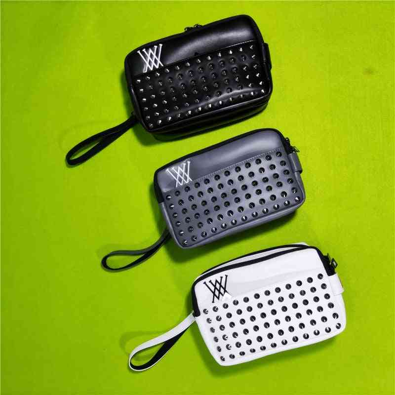 Golf Handbag, Mass Rivets Design, Portable Accessory, Storage-bag For Keys, Cellphone Pouch