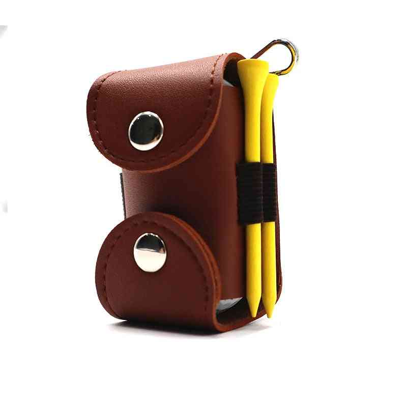 Mini Portable Golf Balls Bag, Tee Holder, Genuine Leather Waist Belt Pouch