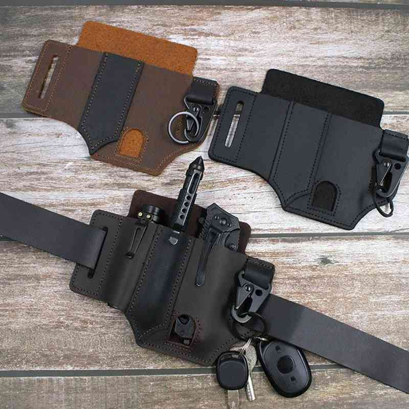 Leather Sheath, Leatherman Pocket With Key Holder For Belt & Flashlight, Outdoor Tool