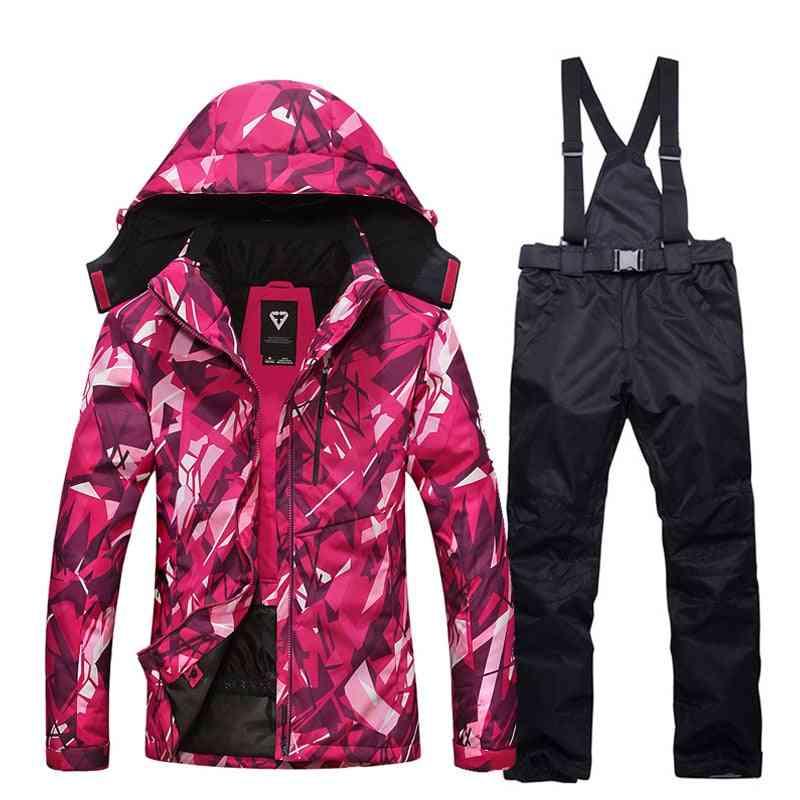 Ski Suit, Women Winter Thick Warm Waterproof Windproof Skiing And Jacket
