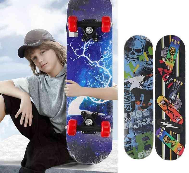 Children Skateboard Longboard Four Wheel Skate Board Scooter Pulley Wheel