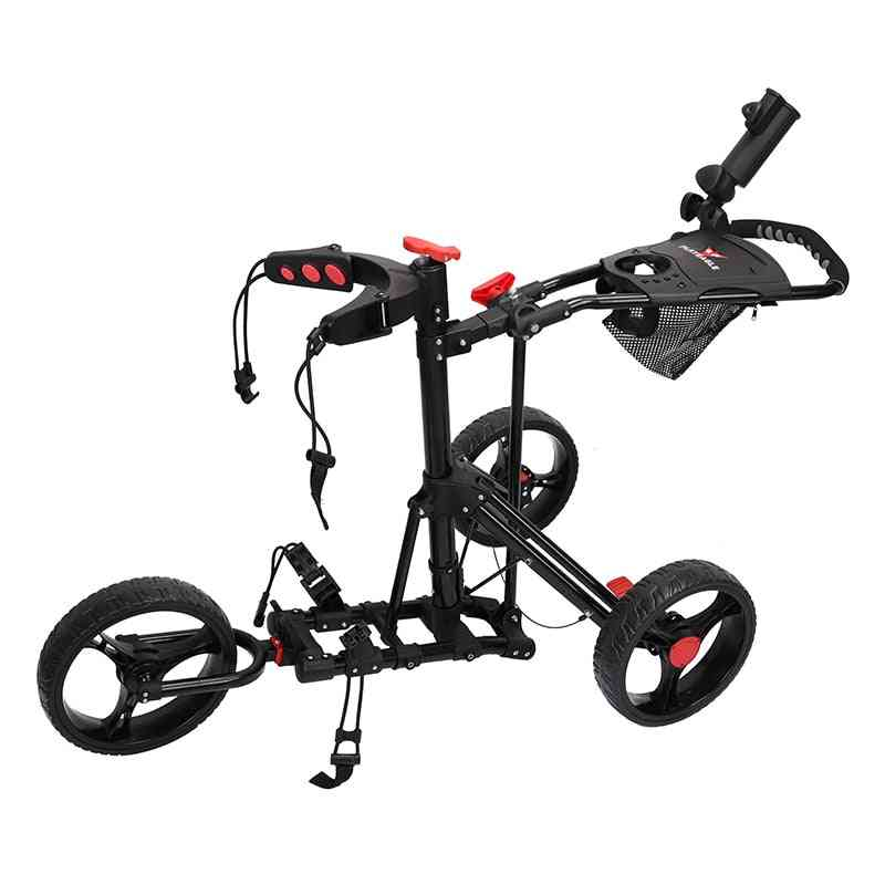 Golf Push Cart, Swivel Foldable, 3 Wheels, Pull Trolley With Umbrella Stand