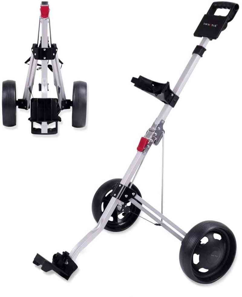 Wheel Foldable Golf Push, Pull Cart, Collapsible Trolley
