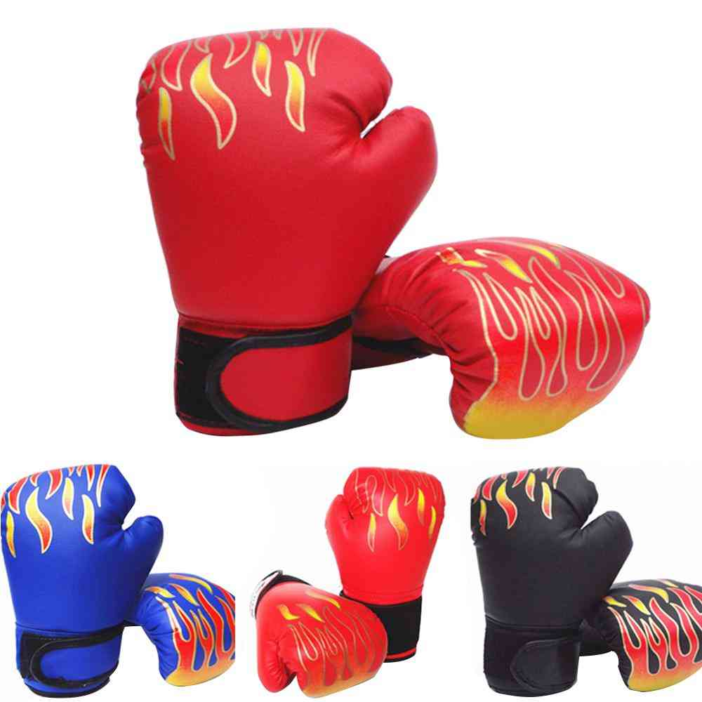 Children Boxing Gloves, Flame Mesh Breathable Pu Leather Training Fighting Gloves