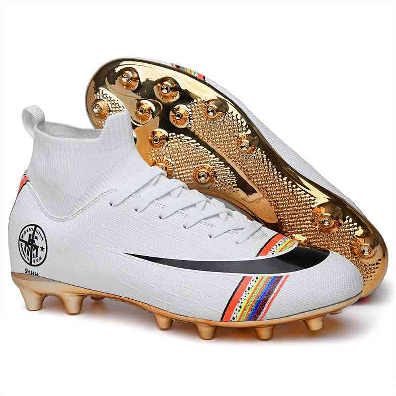 Gold Bottom Men's Soccer Shoes, Indoor Sports, Turf Spikes, Superfly Rainbow High Help Football Shoe