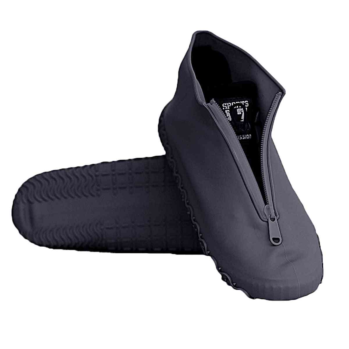 Anti Rain Emulsion Shoe Cover With Zipper, Portable, Reusable, Thick Sole, Waterproof Foot Wear Accessories, Protective Outdoor