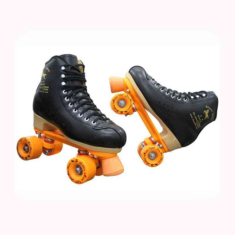 Professional Parenting Two Line Roller Skates Shoes, Double Row, Skating Wheels, High Grade, Pvc Leather