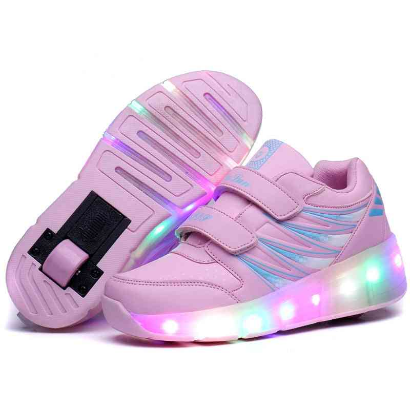 Usb Charging Roller Skate Shoes Led Light Sneakers