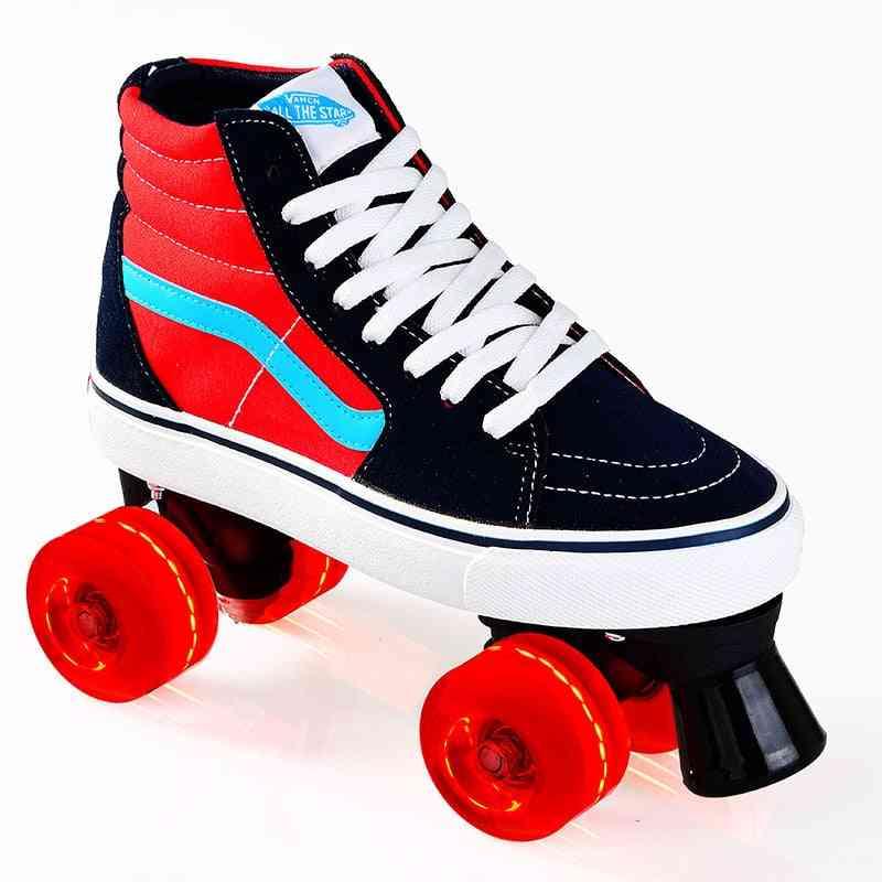 Unisex Canvas Double Line Skates For Adults/kids