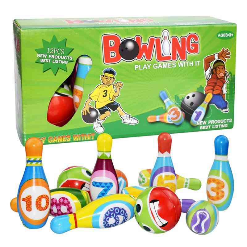 Children Bowling Pu Solid Bowling Play Set Colorful Pattern Bowling Playthings Sports Educational Toy