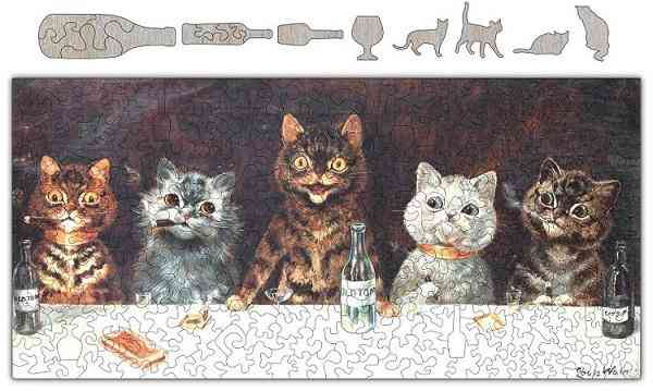 Cats Know How To Party Wooden Whimsical Puzzle #6713