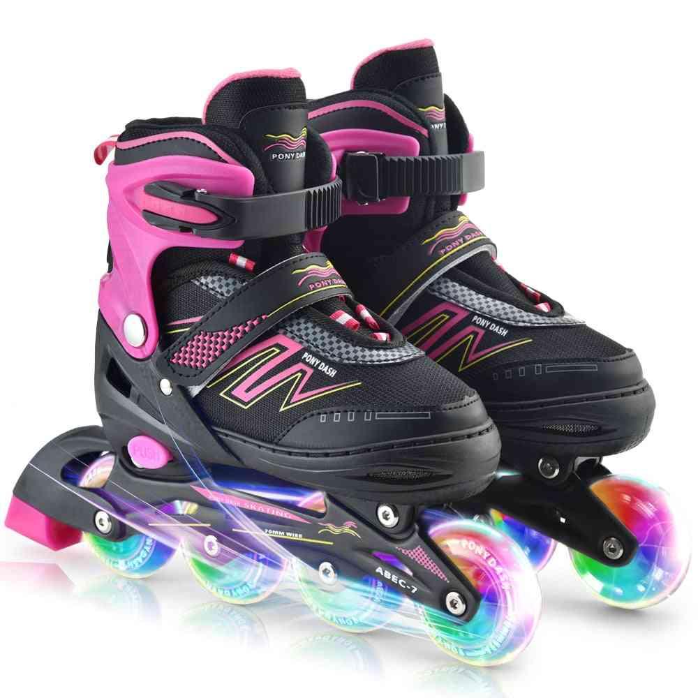 Competition Skates, Adjustable Inline Skate With Illuminating Wheels,,, Ladies, Sliding Free Skate