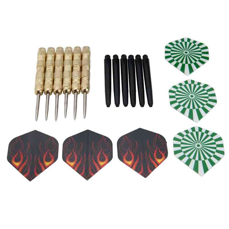 Steel Tip Darts Set, Stainless With Brass Shafts, Party Entertainment Hobby Toy
