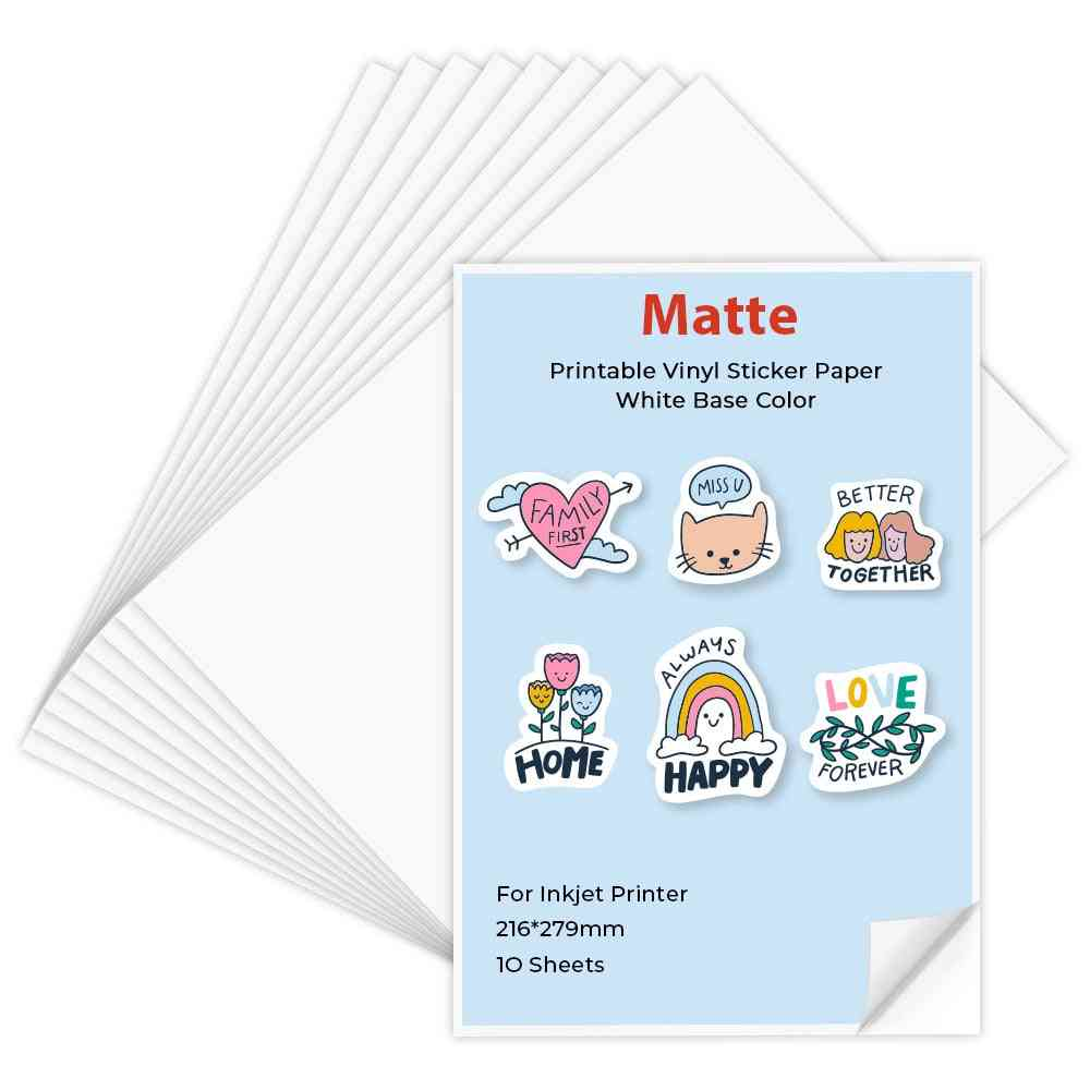 10 Sheets Printable Vinyl Sticker Paper Matte Self-adhesive Copy Paper 216*279mm Printing Paper For Inkjet Printer Diy Crafts