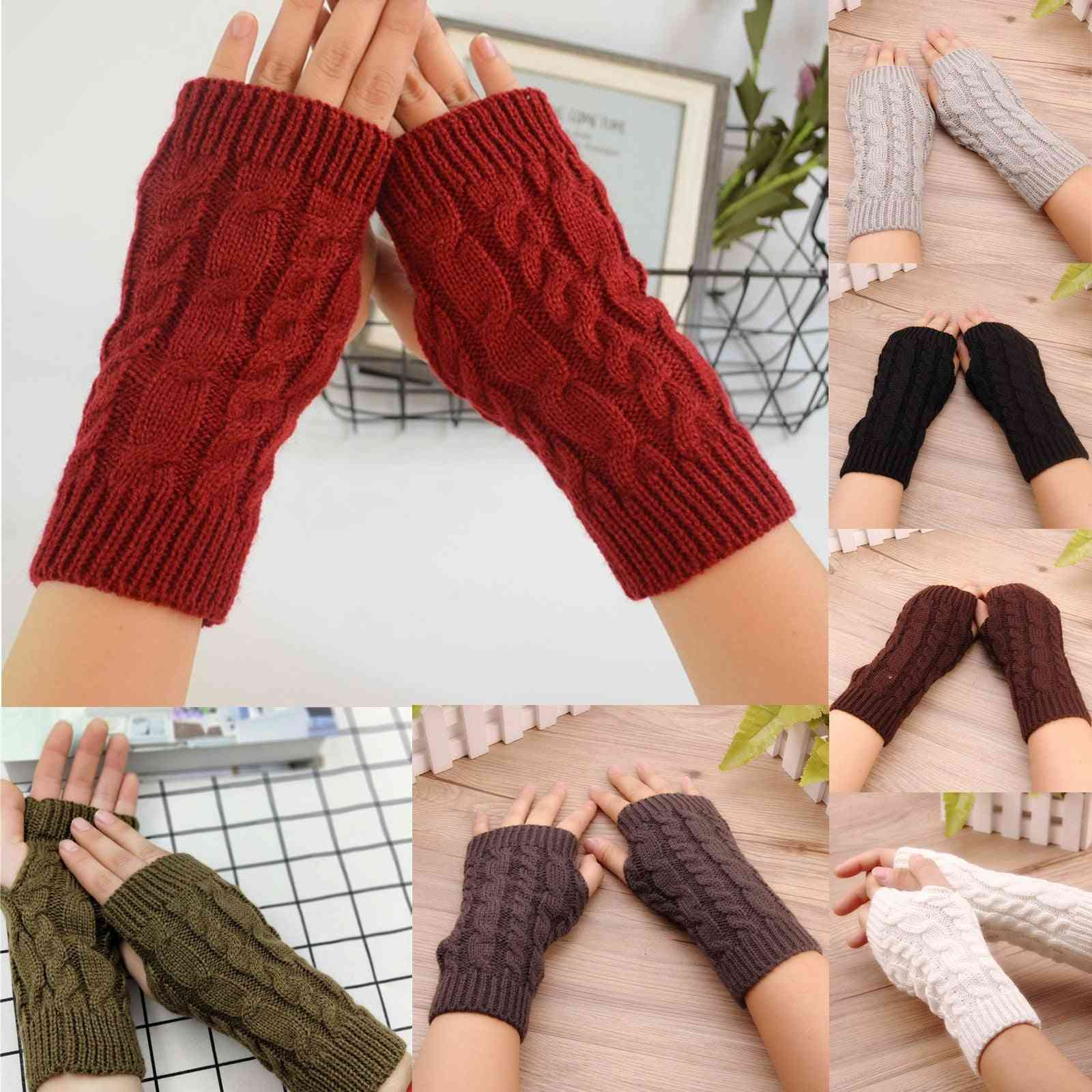 1pair Winter Knitted Stretch Keep Warm Riding Gloves