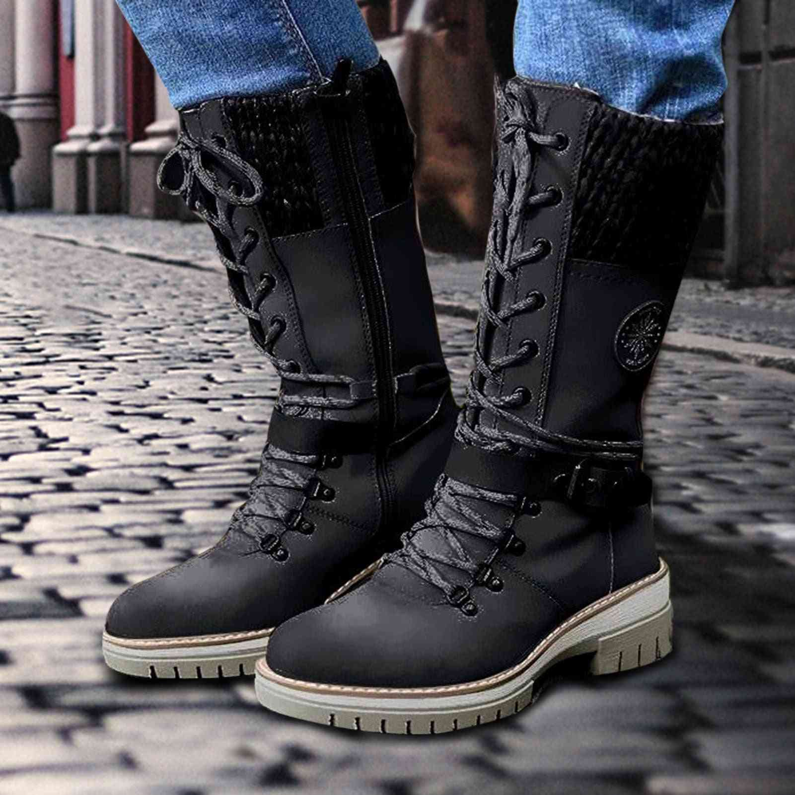 Women's Winter Mid Height Leather Boots Waterproof Warm Snow Boots