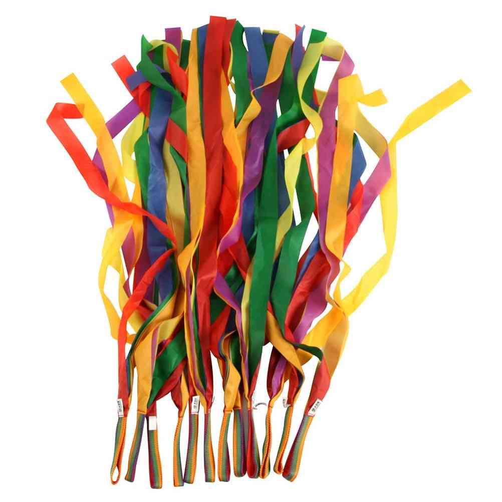 Children Traditional Retro Rainbow Streamer Dance, Interactive Color Ribbon
