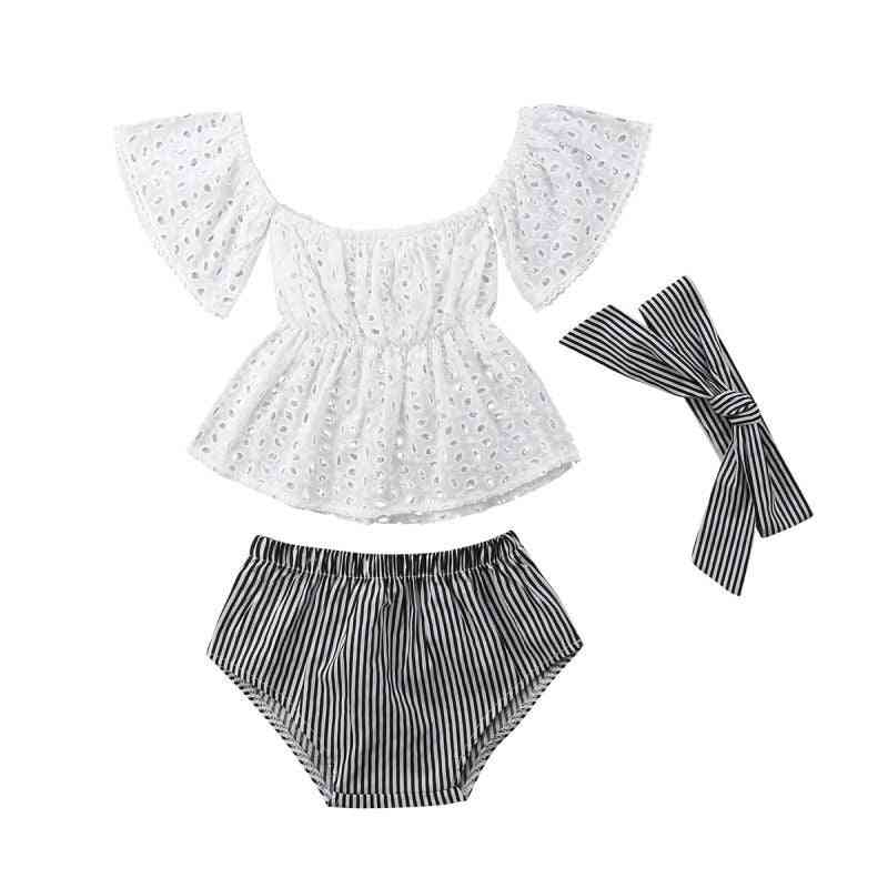 Baby Casual Clothes Set, Summer Girl With Shoulder, Short-sleeved, Hollow Top+stripe, Briefs 3 Piece Set