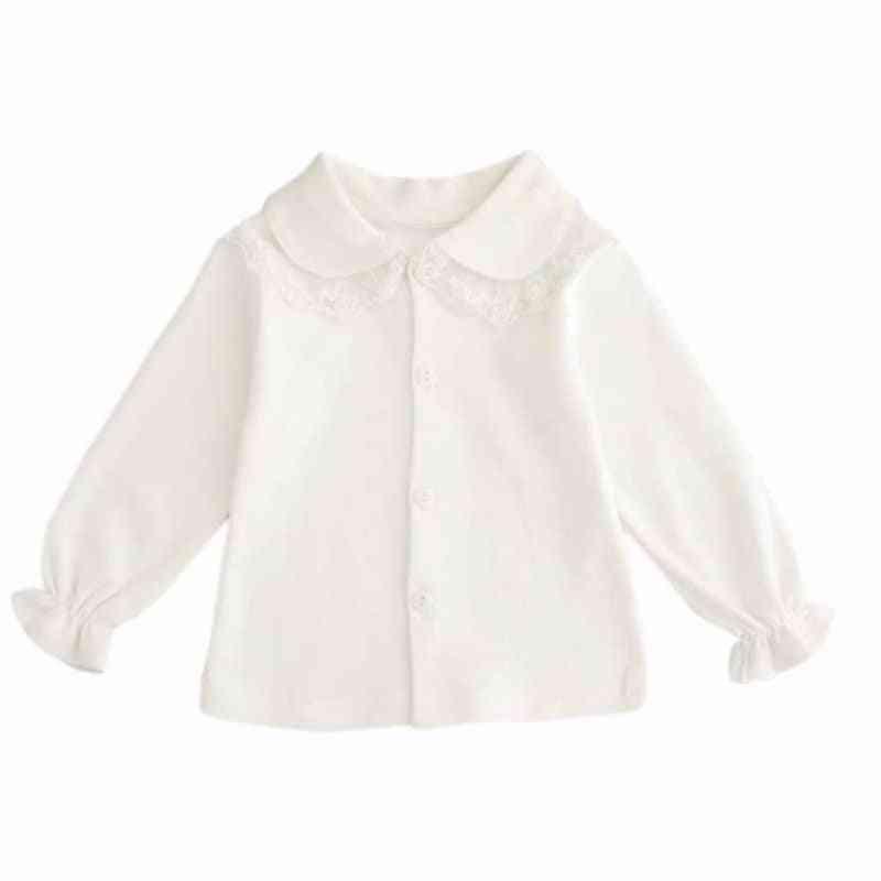 Baby Girl Cute Turn-down Collar, Long Sleeve Lace Blouse, Button Down Shirt