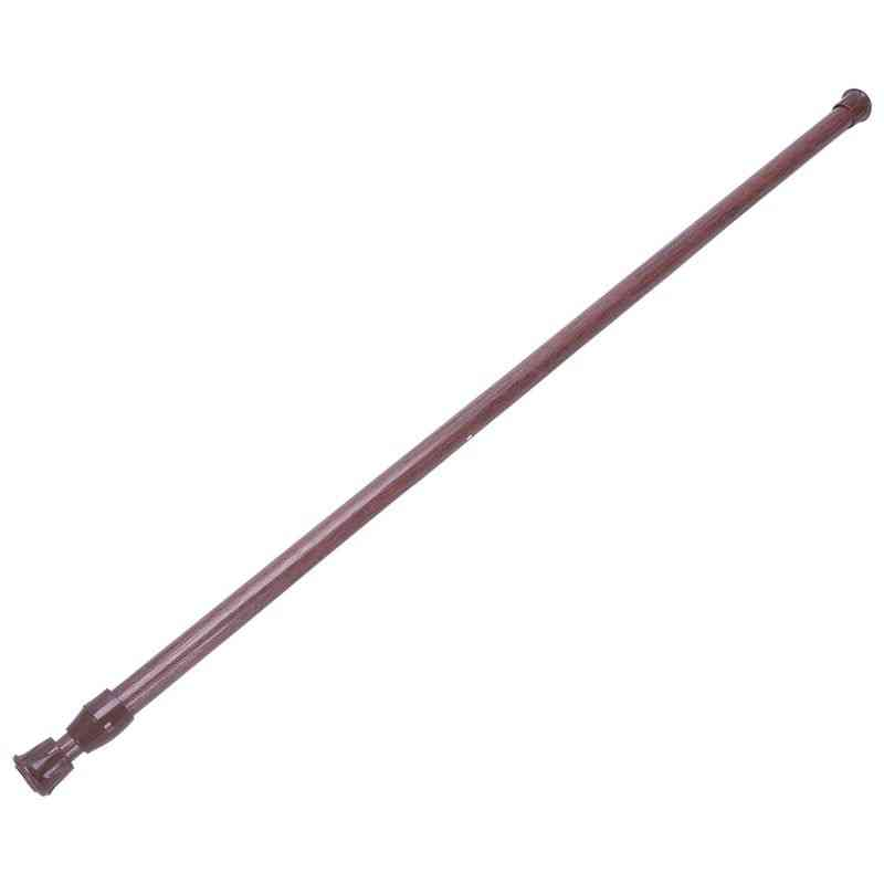 Extendable Telescopic Spring Loaded Net Voile Tension Curtain Rail Pole Rods,55~90cm,wood Color