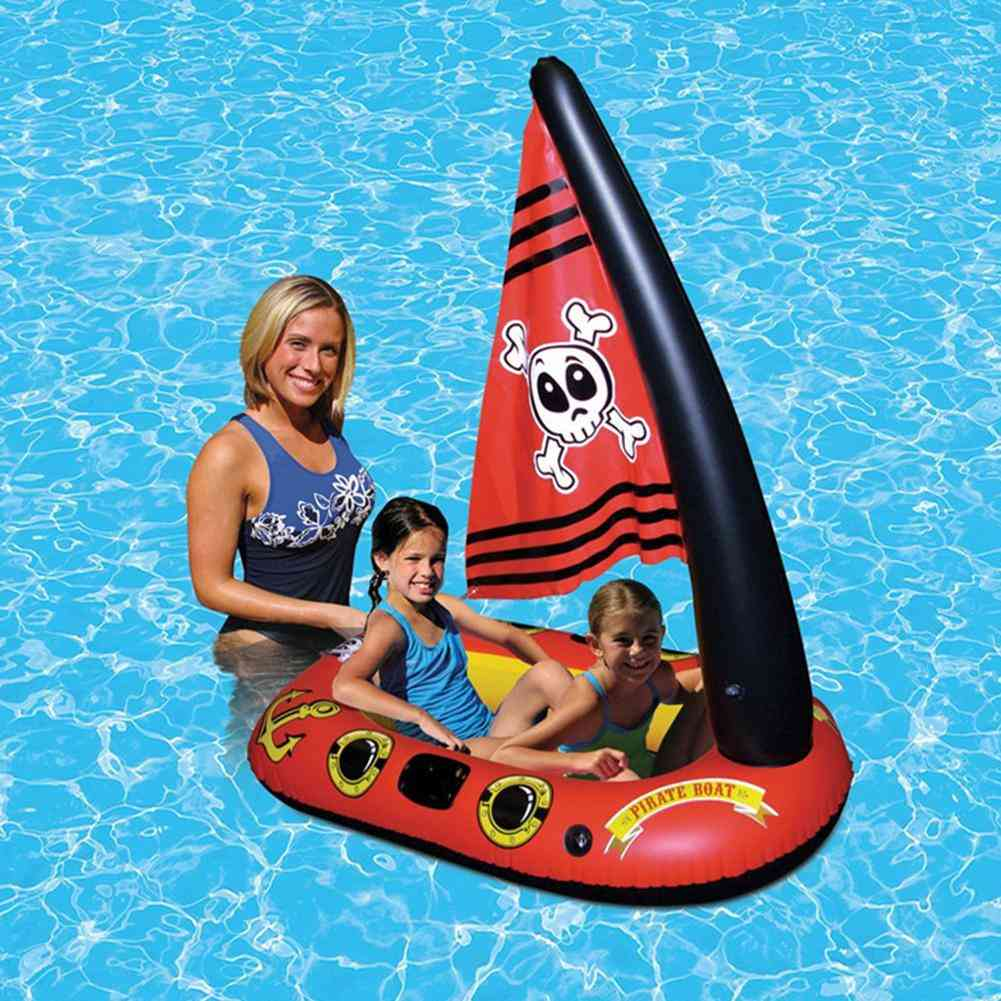 Children's Pirate Ship Boat Water Toy Pool, Floating Swimming Ring
