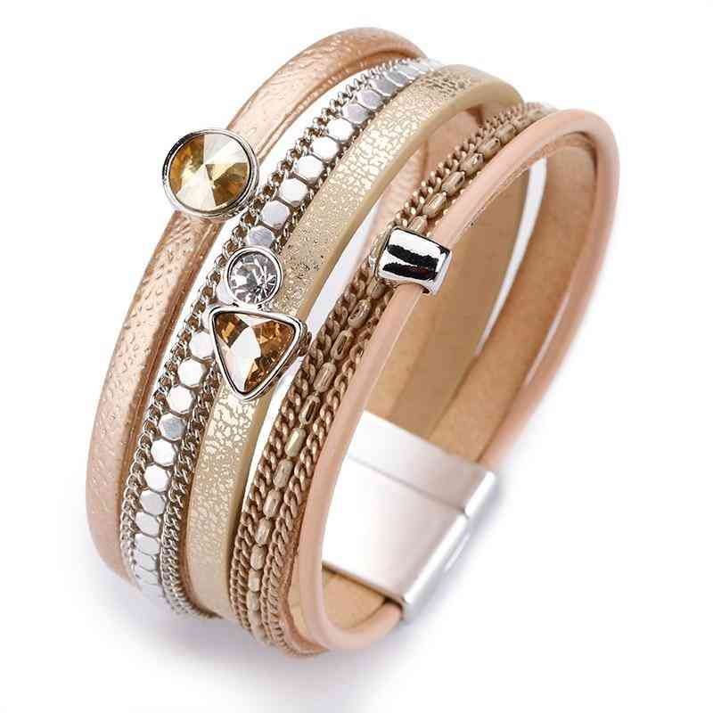 Amorcome Leather Bracelets For Women