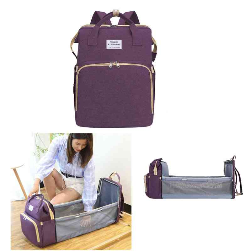 Diaper Bag, Folding Baby Travel Backpack Baby Bed