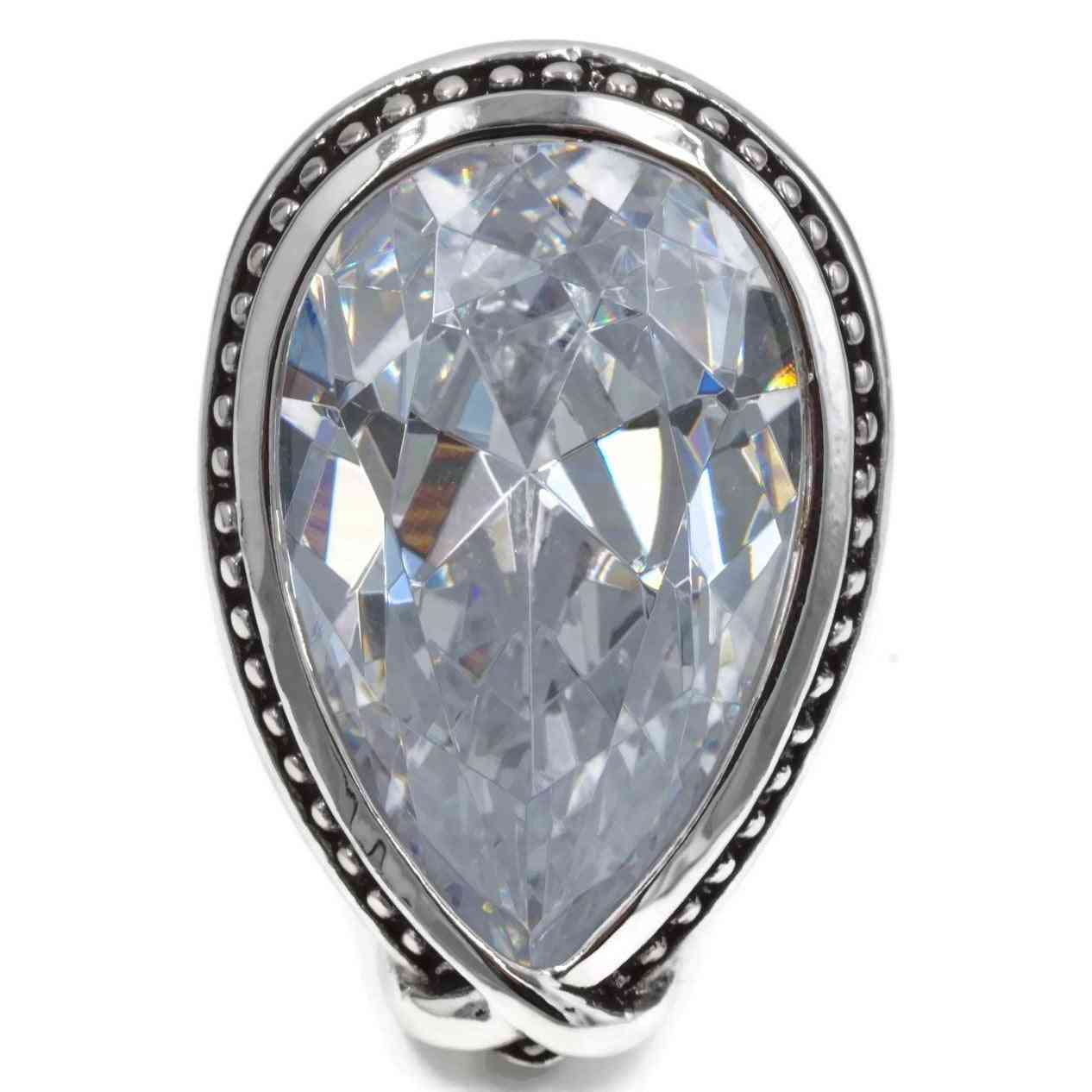 Large Antique Trim Clear Teardrop Cocktail Ring