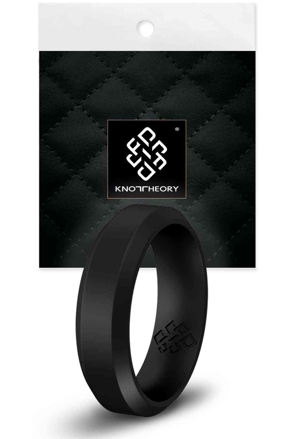 Smooth Black Bevel Edge Breathable Silicone Ring And Women