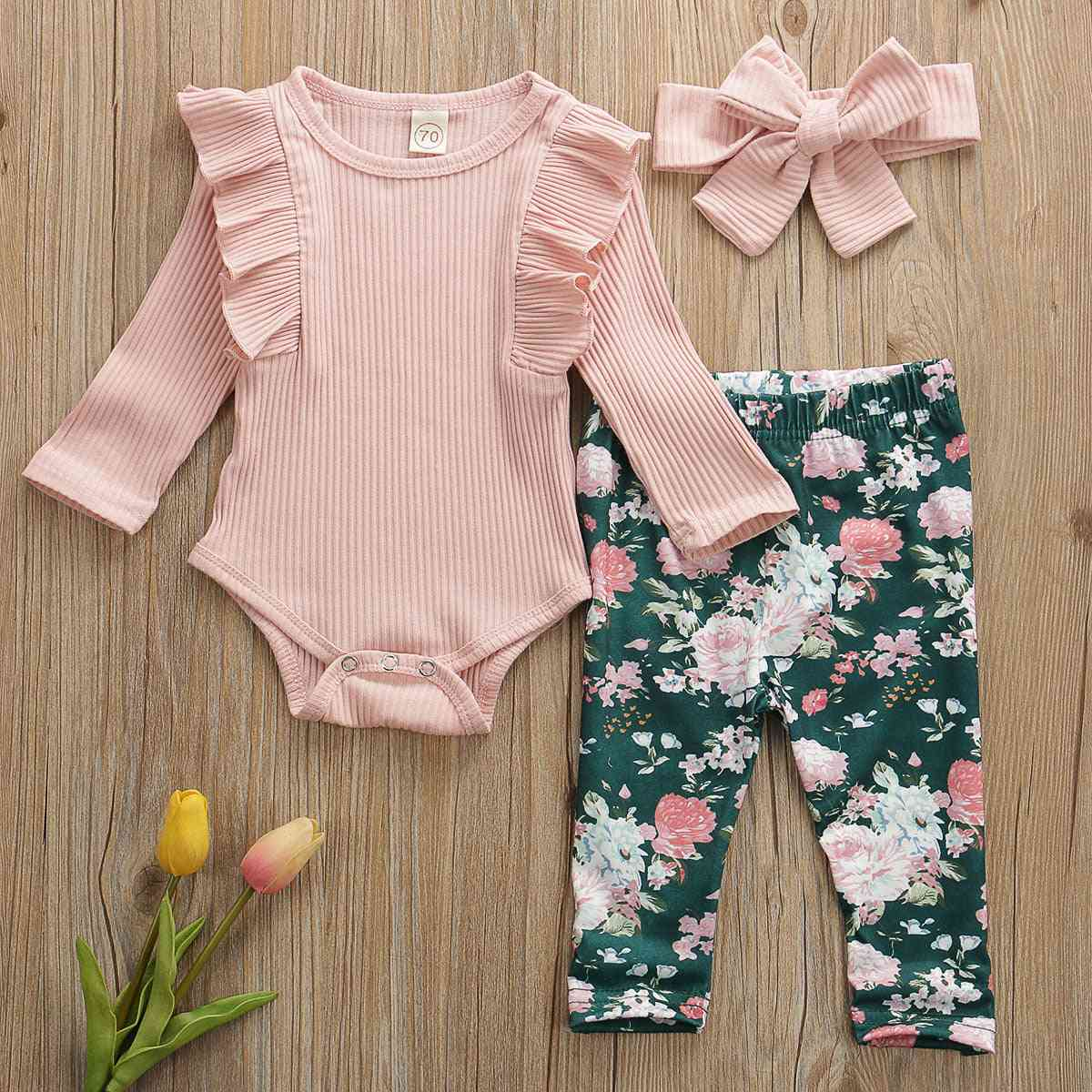 Newborn Baby Girl Clothes, Cotton Romper Tops Pants
