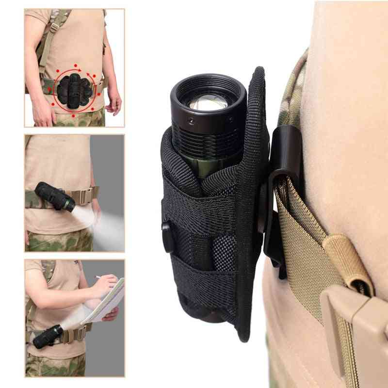 Tactical Rotatable Flashlight Pouch, Holster Torch Case For Belt, Cover Hunting Lighting Survival Kits